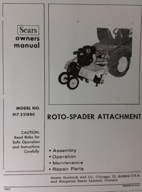 Sears Garden Tractor 3 Point Hitch 8 Hp Roto Spader Tiller Owner
