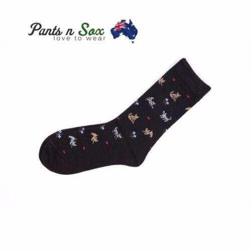 2 Pairs Women Design Cat Kitten Black Pink 2-8 Cotton Women Crew Socks AU Stock