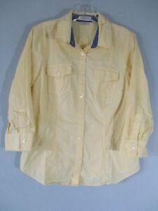 Van-Heusen-Women-039-s-Size-M-3-4-Sleeve-Yellow-Button-Front-Shirt-w-2-Pockets