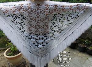 Chale Crochet Fait Main Sylvette Raisonnier Artisanat Francais Blanc Etoile * Renforcement De La Taille Et Des Nerfs