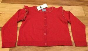 1d83fbc65750 Baby Gap Girls 3   3T Red   Gold Lightweight Button Front Sweater ...