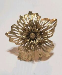 9c369dc1f Monet Gold Tone Pin Brooch 3D Round Signed Vintage Large Flower   eBay