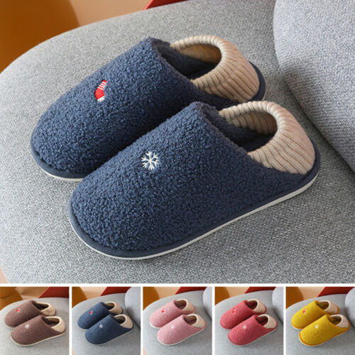 Womens Mens Furry Slippers Plush House Shoes Footwear Winter Warm Home Indoor