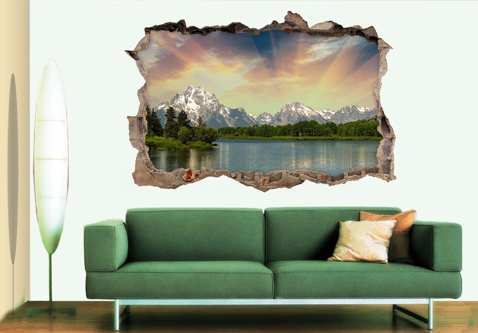 3D Berg Sonne See 8 Mauer Murals Mauer Aufklebe Decal Durchbruch AJ WALLPAPER DE