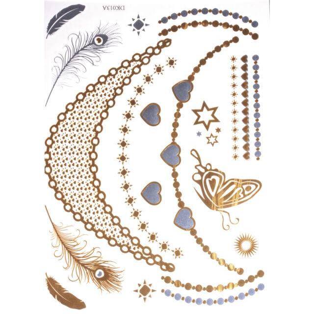 Metallic Tattoos gold/silber Schmuck Ketten Armbänder Ornamente Nr.359