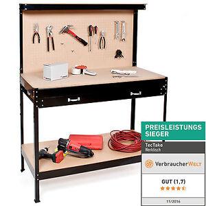 Établi d'atelier 156x60x120 cm avec panneau à outils et tiroir de rangement