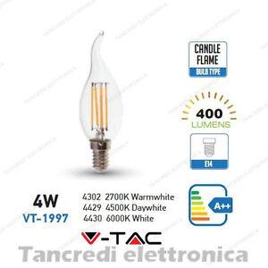 Lampadina-led-V-TAC-4W-40W-E14-VT-1997-a-fiamma-filamento-candela-lampadine