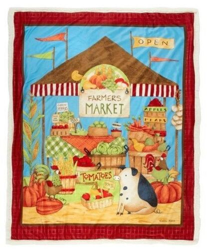 "Debbie Mumm /""Farmers Market/"" Harvest Fall Sherpa Throw Blanket 50/"" x 60/"""