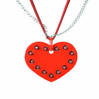 Cupcake Cult Red Studded Spike Love Heart Gothic Pendant On Chain Necklace