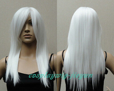 Long Medium Talc White Layer Straight Cosplay Costume Party Anime Wig 24 inch