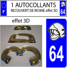 1 sticker plaque immatriculation auto DOMING 3D RESINE CASQUE DE POMPIER DEPA 64