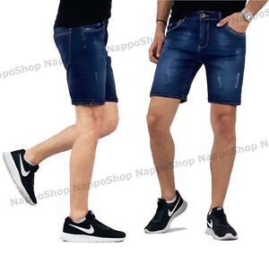 8a7cf7cb1402b9 Caricamento dell'immagine in corso jeans-uomo -strappati-pantaloni-corti-bermuda-pantaloncini-blu-