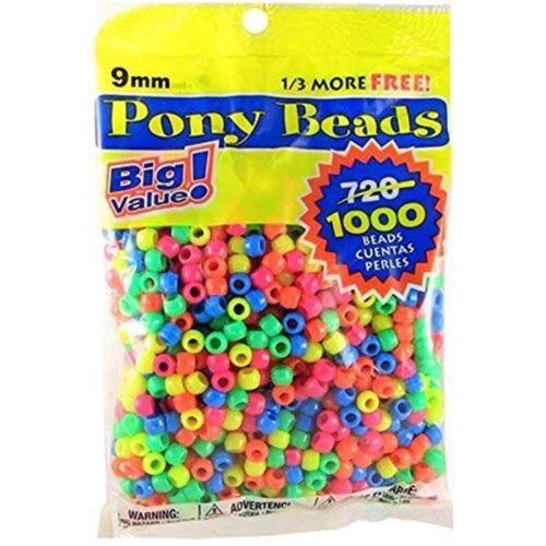 1000//Paquete-granos mmxmm 9mm Neón Multicolor Darice Value Pack Pony del grano