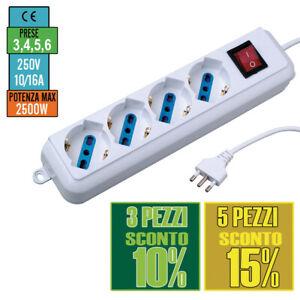 Multipresa Ciabatta Elettrica con 6 Prese Universali ITA 10//16A e Schuko Interr