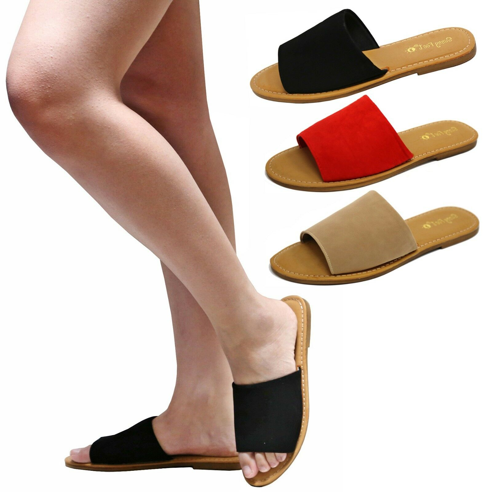 New Women Single Band Sandals Slippers Open Toe Flat Sandals Band Slides BMit e5902a