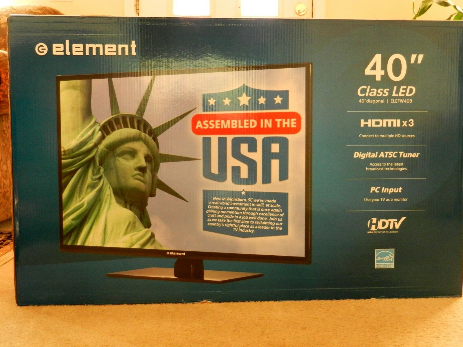 Element ELEFW408 40 1080p 60Hz Direct-Lit LED HDTV NEW-NOT USED OR OPENED. Available Now for 343.00