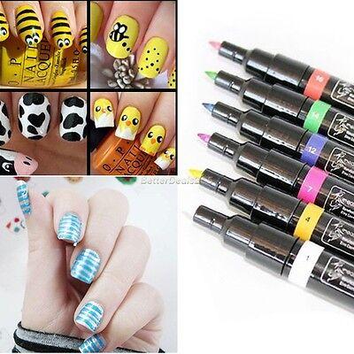 12 Color Nail Art Pen Polish Painting Drawing UV Gel DIY Design Manicure Tool B5