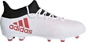Adidas-X-17-1-Junior-Chaussures-De-Football-Blanc-Rouge-Noir-Terre-Ferme-Enfants-Garcons