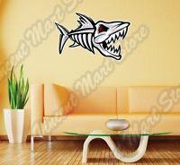 Dead Fish Bone Angry Scary Cartoon Wall Sticker Interior Decor 25x18