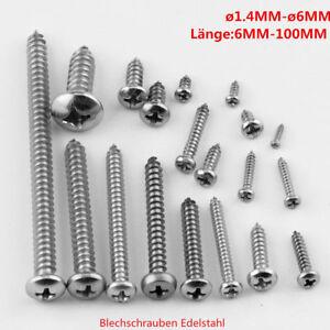 Blechschrauben-Edelstahl-Linsenkopf-von-1-4mm-bis-6mm-10-Stueck-bis-1000-Stueck