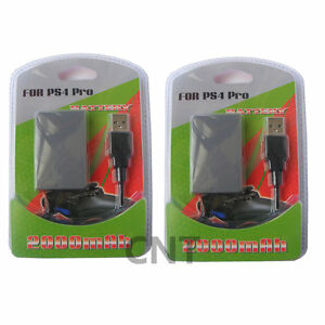 2X-PS4-SLIM-amp-PRO-V2-Dualshock-4-Replacement-Controller-Battery-amp-Charge-Lead