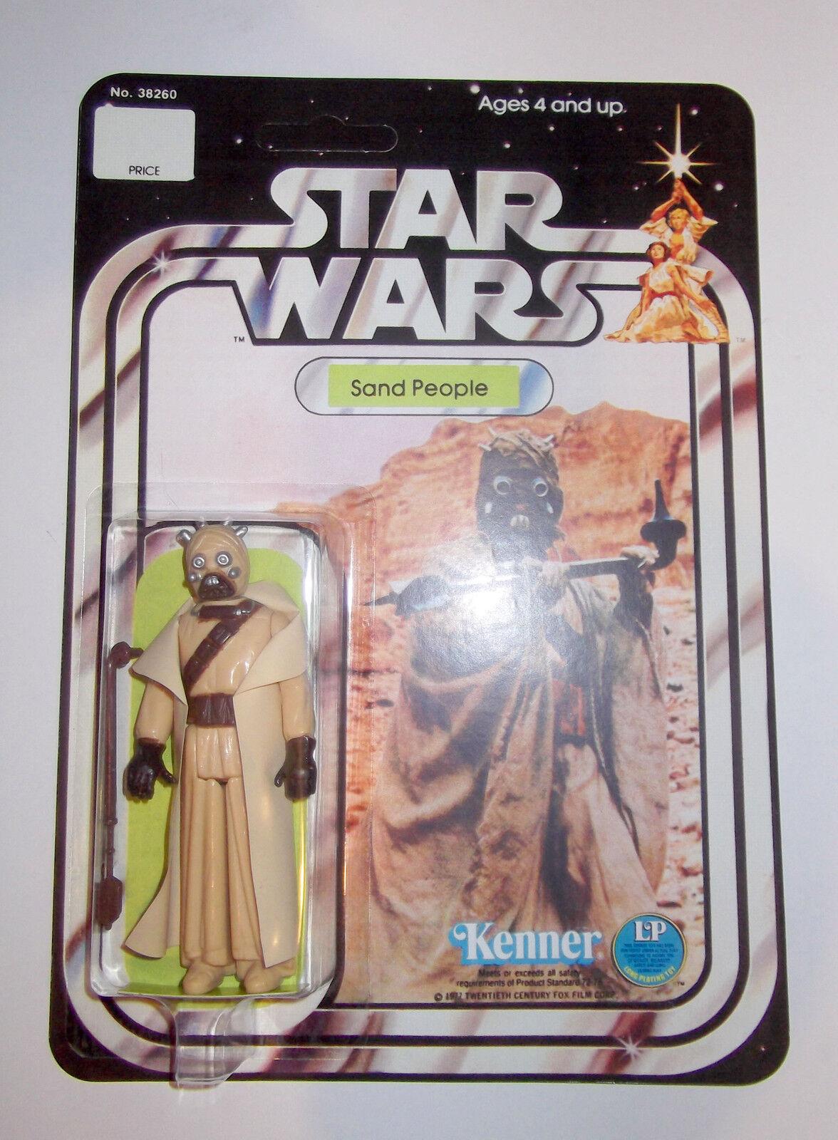 VINTAGE Star Wars SABBIA persone Tusken Figura 12 Indietro Nuovo di zecca recard KENNER 1977