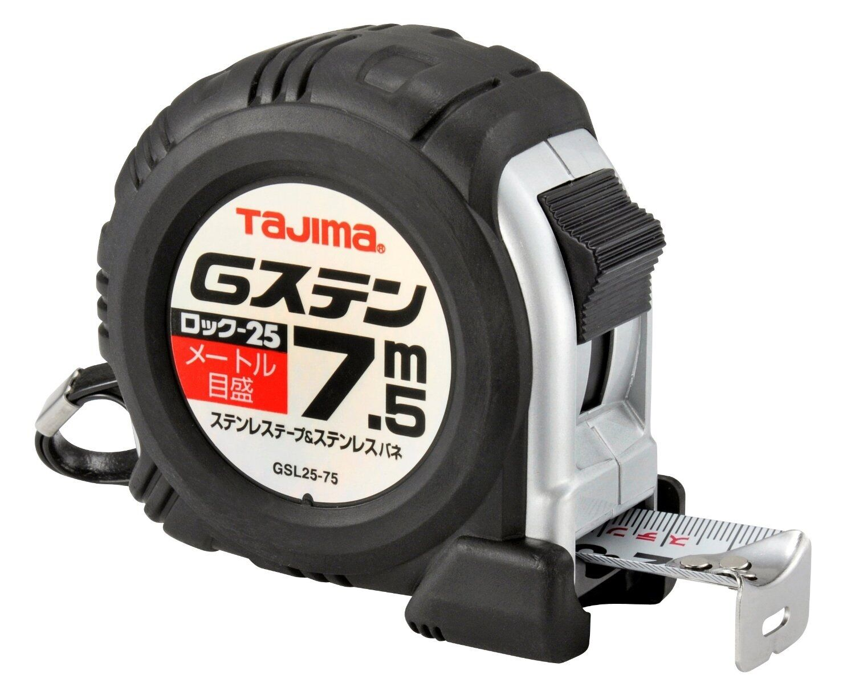 TAJIMA   G-STAINLESS - 7.5m   GSL2575BL   TAPE MEASURE RUBBER GRIP   JIS RANK