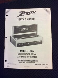 zenith service manual fm am electronic clock radio model j465 ebay rh ebay co uk zenith cd clock radio manual zenith clock radio z1307s manual