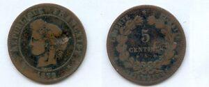 **gertbrolen 5 Centimes Bronze Type Cérès 1879 Paris Ancre Barrée Achat SpéCial