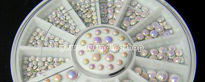 Bulk 1000 Pcs 3 size White Multicolor Rivets Nail Art Decoration Rhinestone J6P8