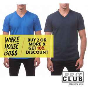 f2aed29d0e5b PROCLUB PRO CLUB MENS CASUAL V-NECK T SHIRT PLAIN SHORT SLEEVE ...