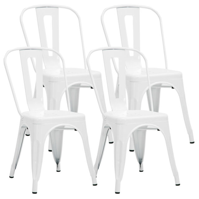 Tremendous 4 Pcs Tolix Style Dining Side Chair Stackable Bistro Cafe Metal Stool Vintage Theyellowbook Wood Chair Design Ideas Theyellowbookinfo