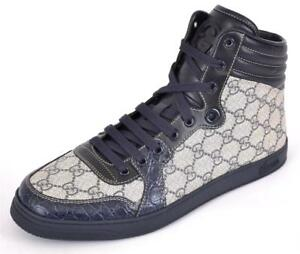 6d784e804 New Gucci Men's 243827 GG Supreme Canvas Caiman Alligator High Tops ...