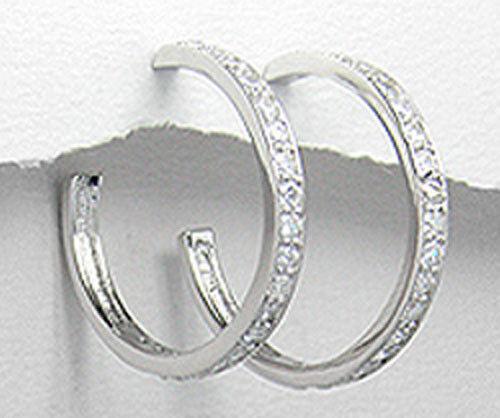 4 G solid sterling silver brillant cz Classique Boucles D/'oreilles Créoles Post friction dos
