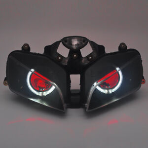 Details About White Angel Eyes Projector Red Demon Headlight Assembly For Honda Cbr600rr 03 06