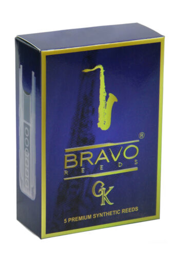 Bravo Synthetic Reeds for Tenor Saxophone Strength 2 Box of 5 Reeds