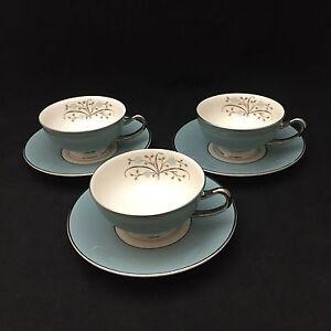Meadow Breeze Teacups Saucers Set Of 3 Syracuse China Usa Ebay