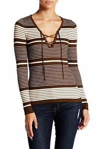 Romeo-and-Juliet-Couture-NWT-95-sz-S-Brown-Long-Sleeve-Lace-up-Ribbed-Pullover