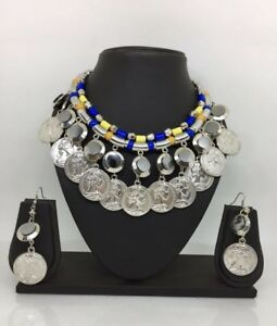Antique-Oxidized-Necklace-Earrings-Indian-Diwali-Jewelry-Silver-Bollywood-Ethnic