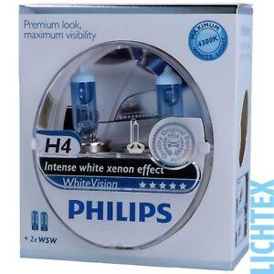 h4 w5w philips whitevision xenon effekt scheinwerfer. Black Bedroom Furniture Sets. Home Design Ideas