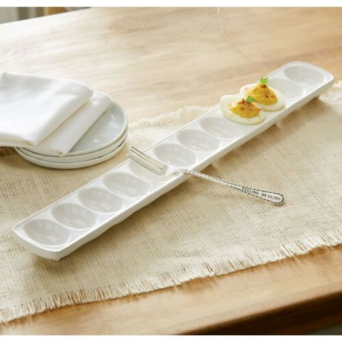 Mud Pie E0 Home Circa App Easter Ceramic Deviled Egg Tray /& Fork Set 4071109