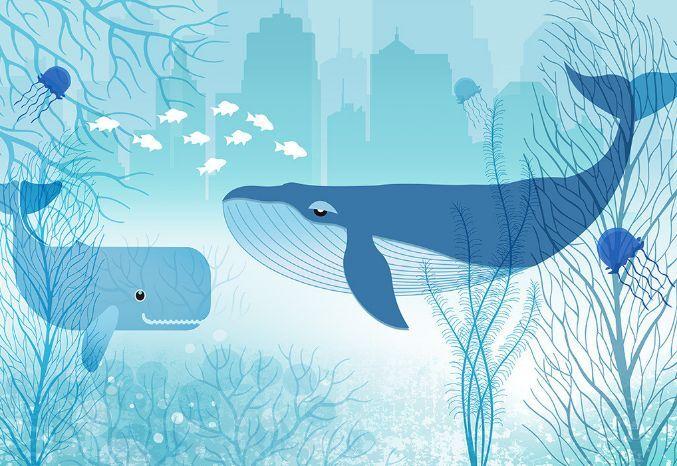 3D Zwei nette Wal 367 Fototapeten Wandbild Fototapete BildTapete Familie