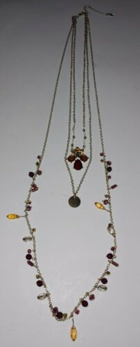 Three Tiered Faux Amber Lucite Gold Tone Metal Chain Y Necklace