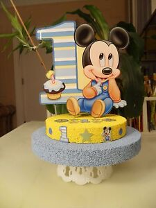Brilliant Baby Mickey Mouse Cake Topper Centerpiece First Birthday Funny Birthday Cards Online Alyptdamsfinfo