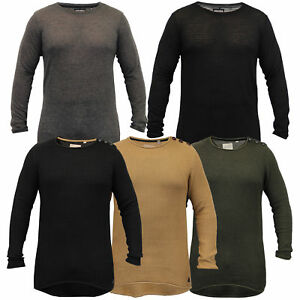 Mens-Long-Line-Jumper-Soul-Star-Sweater-High-Low-Hem-Top-Knitted-Pullover-Winter