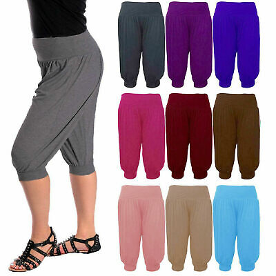 Diskret Womens 3/4 Ali Baba Hareem Baggy Pants Trousers Cropped Shorts Leggings 8-26