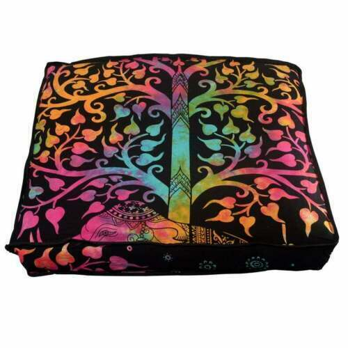 Floor Pillow  Bohemian Indian Sitting Cushion Mandala Cover Square Throw Pouf