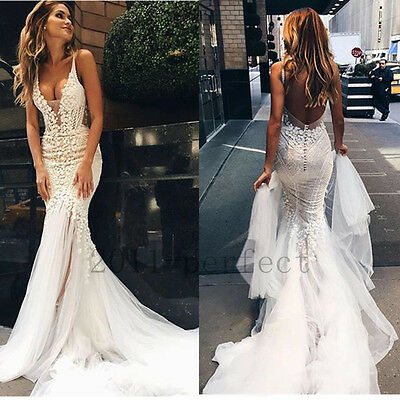 Sexy White Ivory Wedding Dresses V Neck Custom Made Lace Mermaid Bridal Gowns