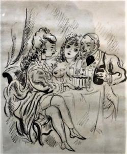 """André DIGNIMONT- """"Ivresse"""" - Dessin à l'encre encadré - 1931"""