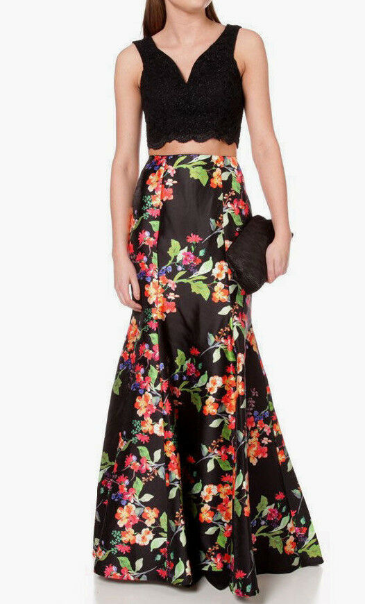 NWNT   CITY TRIANGLES FLORAL TRUMPET LONG SKIRT & TOP      SZ 3